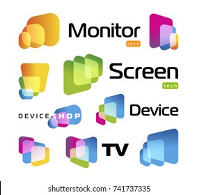 Digital smart TV monitor technology logo. Screen new technology, high resolutions cinema. Isolated unusual rectangles with rounded corners intersecting each other. colorful icons set