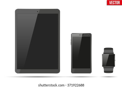 Digital smart watch, tablet PC and touchscreen smartphone. Mock-up design. Vector Illustration isolated on white background