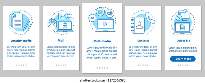 Digital software onboarding mobile app page screen with linear concepts. Attachment file, mail, multimedia, contacts, file deleting steps graphic instructions. UX, UI, GUI vector illustrations