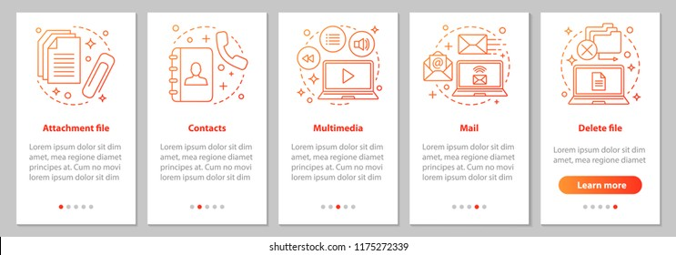 Digital software onboarding mobile app page screen with linear concepts. Attachment file, mail, multimedia, contacts, file deleting graphic instruction. UX, UI, GUI vector template with illustration