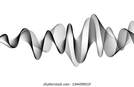 Digital sound wave vector banner background. Audio music soundwave. Voice frequency form illustration. Vibration beats in waveform, black and white color. Sonic creative concept.