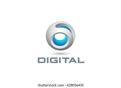 Digital Sphere Technology abstract Logo design vector template.