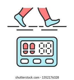 Digital sports pedometer color icon. Physical activity, walking indicator. Fitness tracker. Steps counter. Passometer. Electronic portable device. Distance walked. Isolated vector illustration