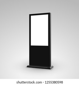 Digital stand signage advertising banner lightbox. Blank isolated mockup billboard marketing panel otdoor design