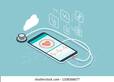 Digital stethoscope connected to a smartphone and icons: innovative medical diagnosis and technology concept