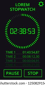Digital stopwatch. Mobile application interface template. Vector illustration. Green vintage digital dial with a circular indicator divided by 60 seconds. Pause and stop buttons. Records results.