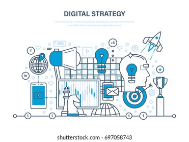 Digital strategy concept. Digital marketing, media planning, online business and purchasing, financial analysis and statistics. Illustration thin line design of vector doodles, infographics elements.