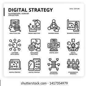 Digital Strategy icon set for web design, book, magazine, poster, ads, app, etc.