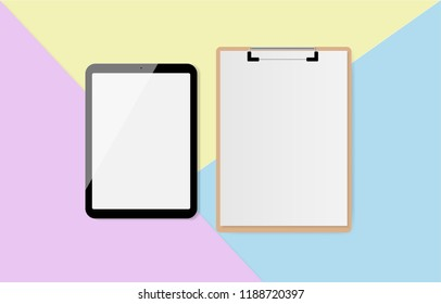 Digital tablet with blank screen and clipboard on pastel color background, flat lay. Vector illustration