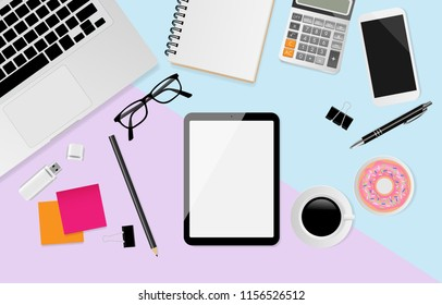 Digital tablet with blank screen and notebook, pen, black metallic paper clips, calculator, coffee cup, donut, eyeglasses and laptop on pastel color background, flat lay, Top view. Vector illustration
