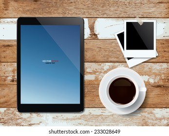 Digital tablet with coffee cup and blank photo frame on vintage wooden texture background. Vector illustration.