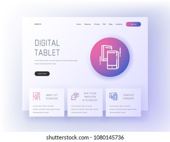 Digital tablet, Smart city technology, New future innovation in technology, Computer hardware Landing page template. Template for website design.
