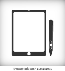 Digital tablet with a stylus icon - Vector