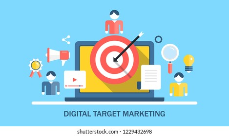 Digital target marketing, right audience targeting, marketing icons flat vector banner