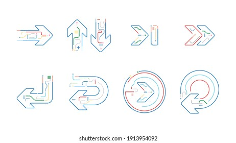 Digital tech flat arrows icon collection set vector background