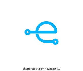 Digital Tech Letter Initial E Logo Design Template