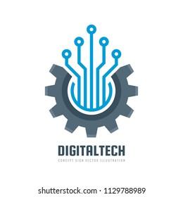 Digital tech - vector business logo template concept illustration. Gear electronic factory sign. Cog wheel technology symbol. SEO emblem. Design element