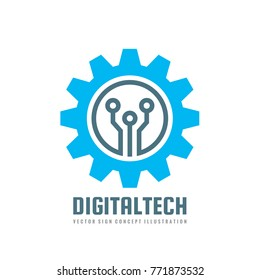 Digital tech - vector business logo template concept illustration. Gear electronic factory sign. Cog wheel technology symbol. Mining industry. SEO emblem. Design element.