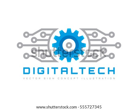 Digital tech vector business logo template stock vector royalty digital tech vector business logo template concept illustration gear electronic factory sign cog flashek Images