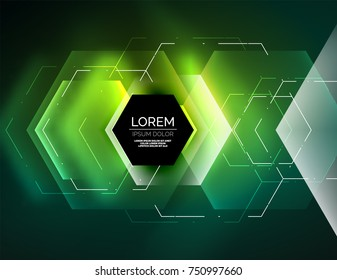 Digital techno abstract background, glowing hexagons, vector geometric hi-tech background with shiny light effects and figures, green color