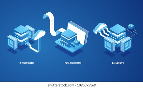 Digital technologies in business, cloud data storage, server room, online wallet, electronic bill and money transfer isometric vector illustration