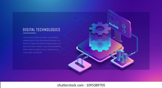 Digital technologies. Monitoring and testing of the digital process. Digital business analysis. Conceptual illustration. Isometric vector illustration. 3D