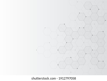 Digital technology background. Abstract hexagons background with black lines and dots. Design for science, medicine or technology