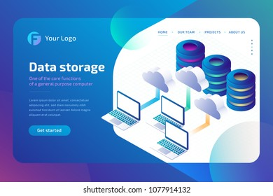 Digital technology, cloud data storage and cloud storage. Data backup copy concept. 3d isometric vector illustration.
