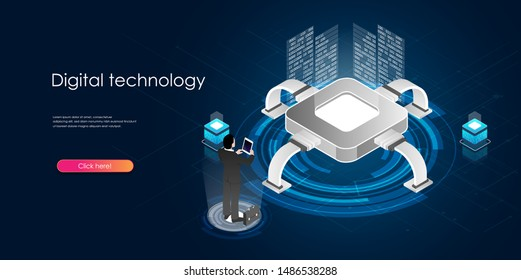 Digital technology concept. Developing and coding inforation concept. High-tech. Blockchain. Isometric vector illustration. Perfect or landing page, websites, banners, infographics, presentations etc.