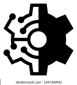 Digital Technology Gear Vector Icon