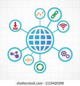 Digital technology icons , connection concept with globe integrated