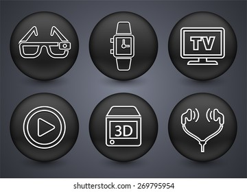 Digital Technology and Innovations on Black Round Buttons