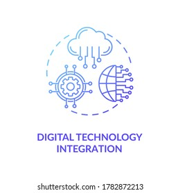 Digital technology integration blue gradient concept icon. Remote database. Digital transformation for education. Electronics idea thin line illustration. Vector isolated outline RGB color drawing