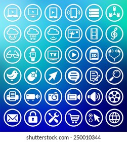 Digital Technology and Internet Innovations on Blue Round Buttons