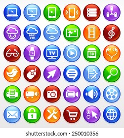 Digital Technology and Internet Innovations on Multi Color Round Buttons