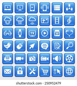 Digital Technology and Internet Innovations on Blue Square Buttons