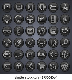 Digital Technology and Internet Innovations on Black Round Buttons
