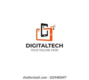 Digital technology logo template. Mobile phone and tablet vector design. Smart gadgets illustration
