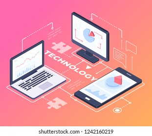 Digital technology - modern vector colorful isometric illustration on red background with copy space for text. Banner with laptop, computer monitor, smartphone, infographic charts, diagrams on screens