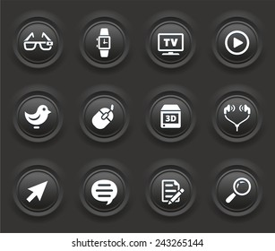 Digital Technology and Networking on Black Bevel Round Buttons