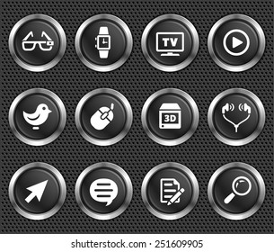 Digital Technology and Networking on Black Round Buttons