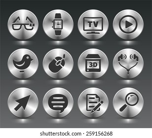 Digital Technology and Networking on Silver Round Buttons