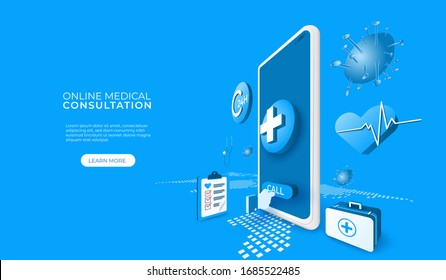 Digital technology online medical consultation with covid 19 or coronavirus. mobile app concept. people calls doctor. 3d perspective vector illustration.