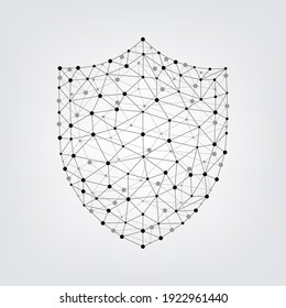 Digital technology shield security and protection concept. Geometric connecting dots and lines. Vector art illustration