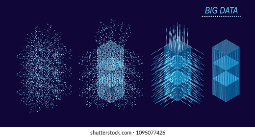Digital Technology Web Banner. Big data Machine Learning Algorithms. Abstract banner analysis of Information. Isometric view. Science darck blue Background.