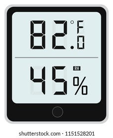 Digital Thermometer with Humidity Indicator (hygrometer) vector illustration