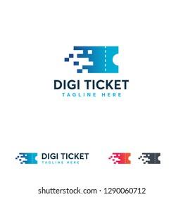 Digital ticket logo designs concept vector, Pixel Ticket logo template