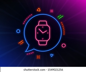 Digital time line icon. Neon laser lights. Clock sign. Smartwatch symbol. Glow laser speech bubble. Neon lights chat bubble. Banner badge with smartwatch icon. Vector