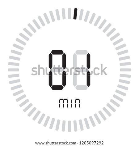 digital timer 1 minute electronic stopwatch stock vector royalty
