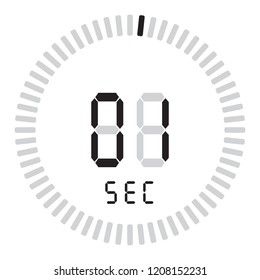 The digital timer 1 second, electronic stopwatch with a gradient dial starting vector icon, clock and watch, timer, countdown symbol.